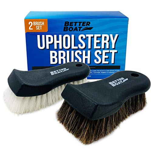 Upholstery Cleaner Scrub Brush Set Cleaning Brush and Horsehair Detailing Brush for Car Interior, Seats, Boat, Couch, Sofa and Carpet