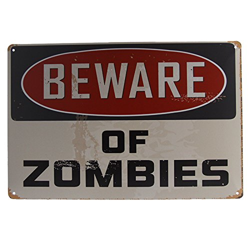[T-ray Beware of Zombies Tin Signs Art Wall Decoration House Cafe Bar Vintage Iron Painting] (Zombie Decoration)