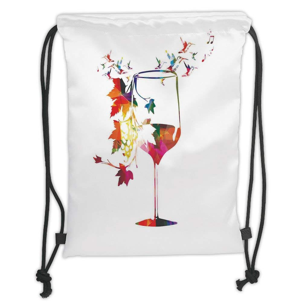 Drawstring Backpacks Bags, Winery Decor, Vine Glass with Colorful Imaginary Growing Leaves Vines Aroma Sommelier Relax Joy Artsy Work, Multi Soft Satin, 5 Liter Capacity, Adjustable Str Jiuying bags