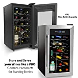 NutriChef 18 Bottle Thermoelectric Red And White Wine Cooler/Chiller Counter Top Wine Cellar with Digital Control, Freestanding Refrigerator Smoked Glass Door Quiet Operation Fridge, Stainless Steel