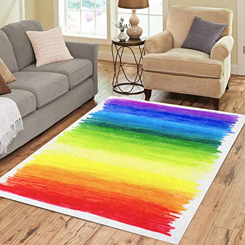(Semtomn Area Rug 3' X 5' Colorful Crayon Abstract Colored Pencils Rainbow Color Scribble Draw Home Decor Collection Floor Rugs Carpet for Living Room Bedroom Dining Room)
