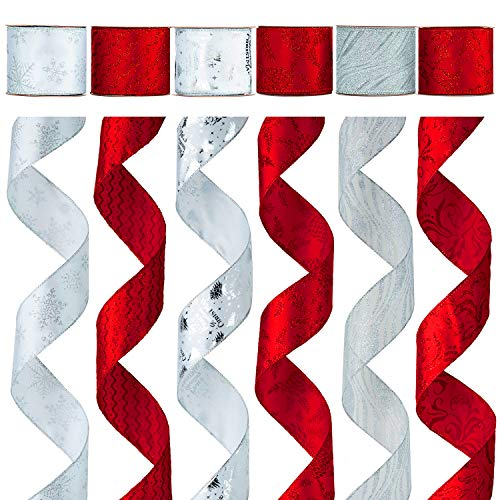 Alonsoo Holiday Party Wired Christmas Ribbon Decorations, Assorted Organza Swirl Sheer Glitter Tulle Crafts Gift Wrapping Design Decorations, 36 Yards (6 Roll x 6 yd) by 2.5 inch, White/Red