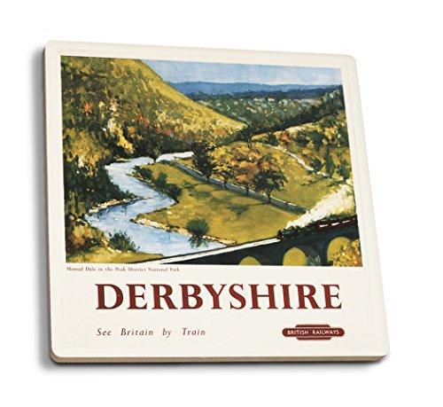 derbyshire-england-monsal-dale-train-and-viaduct-british-rail-vintage-advertisement-set-of-4-ceramic