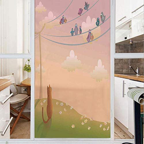 Decorative Window Film,No Glue Frosted Privacy Film,Stained Glass Door Film,Cute Cat Looking to The Birds Sitting on Electric Wires Fandom Community Art Print Home,for Home & Office,23.6In. by 47.2In