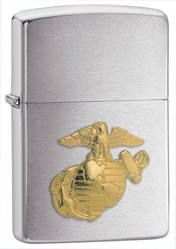 New Zippo Marine Emblem Lighter Brushed Chrome Finish Gold Tone U.S. Marines Emblem Front