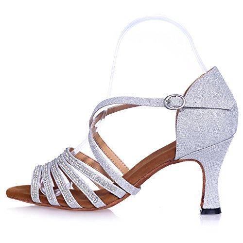 7 Centimetri da Basso Samba Toe Tacco Elobaby Scarpe Prom Jazz 5 Ballo Tacco Satin Donna Buckle Blue Platform Peep da T5PZqCw