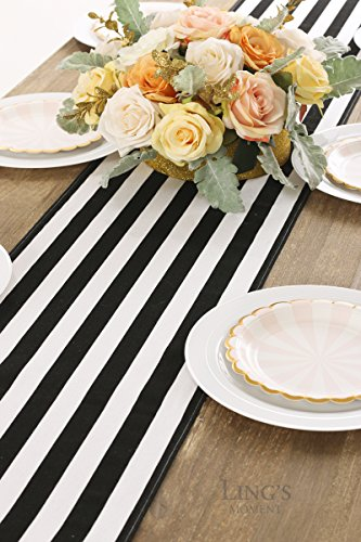 Ling's moment Classical Durable Black and White Striped Table Runner - Cotton Canvas Fabric Table Top Decoration 12'' x 108'' / 9 FT by Ling's moment (Image #4)