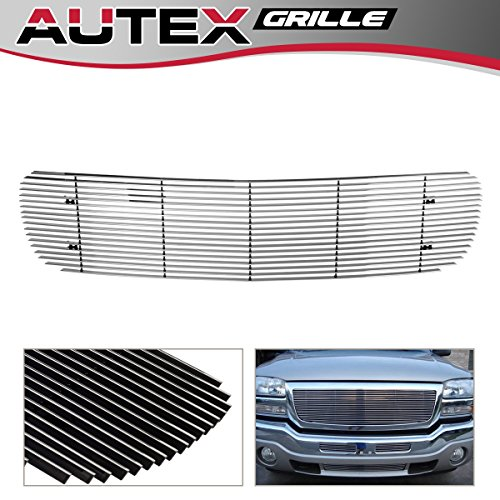 (AUTEX Polished Aluminum G65704A Upper Billet Grille Compatible With GMC Sierra 1500 1999-2000,GMC Yukon Denali 2000-2006,GMC Sierra 2001-2002,GMC Sierra Denali 2002-2006)