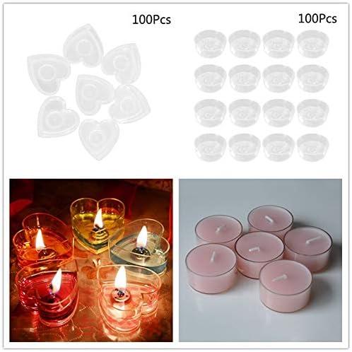 100PCS Plastic Candle Shell Tea Wax Shell Candle Flame Retardant Wax Melt Molds Heart Shape Clear Wax Holder Plastic Wax Melt Clamshells