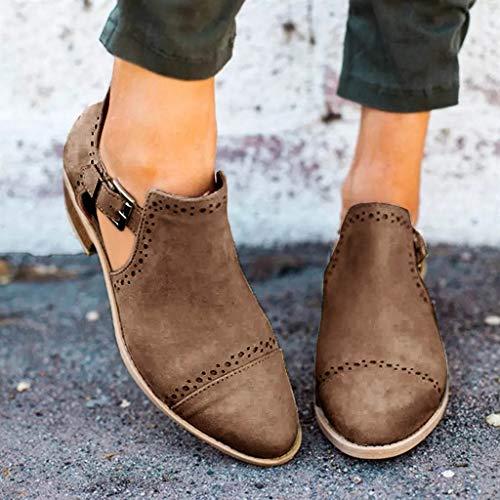 Mode Marron À Sandales Creux Bottillons Chic La Rond Derbies Chaussures Ressort Cheville Bout Talons Unique 6F6rSfq