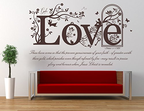 1 Peter 1 v 7 Bible NIV Verse Quote, Vinyl Wall Art Sticker. Mural, Decal. Home, Church, School Decor. Dimensions of sticker: 47 1/4