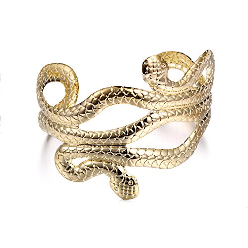Lux Accessories Gold Tone Two Headed Snake Wrapped Egyptian Style Bracelets