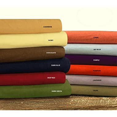 Tribeca Living Luxury Solid Flannel Deep Pocket Sheet Set, Queen, Taupe