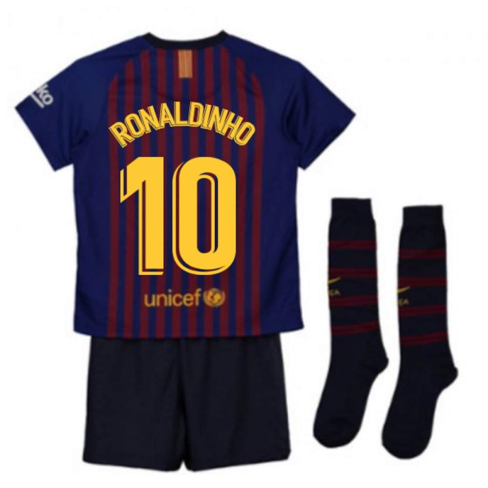 UKSoccershop 2018-2019 Barcelona Home Nike Little Boys Mini Kit (Ronaldinho 10)