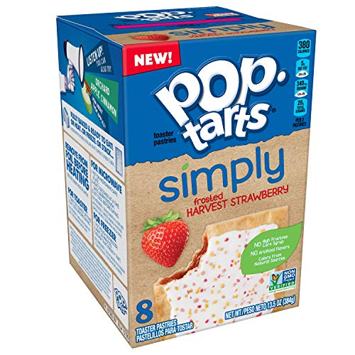 Simply Pop-Tarts, Toaster Pastries, Frosted Harvest Strawberry, Non-GMO Project Verified, 13.5oz Box (Pack of 12) (Low Fat Brown Sugar Cinnamon Pop Tarts)