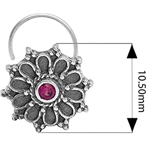 monde éblouissant Multi-Colour CZ Gemstone 925 Sterling Silver Flower Classic Design Oxidized Nose Pin for Women and…