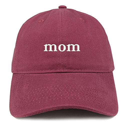 Trendy Apparel Shop Mom Embroidered Soft Low Profile Cotton Cap Dad Hat - Maroon