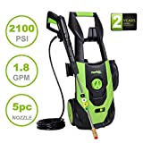 PowRyte Elite 2100 PSI 1.80 GPM Electric High Pressure Washer, Portable Power Washer with 5 Quick-Connect Spray Tips and Onboard Detergent Tank