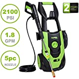 PowRyte Elite 2100 PSI 1.80 GPM Electric High Pressure Washer, Portable Power Washer 5 Quick-Connect Spray Tips Onboard Detergent Tank