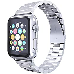 Apple Watch Cinturino Ubegood Apple Watch Banda Cinturino Orologio in Acciaio Argento iWatch Cinghia Sostituzione Cinghia di Polso Smart Watch banda Cinghia Tutti i Modelli 42mm