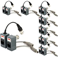 Generic BNC to RJ45 CAT5 Cable Video + Power Balun Connector for CCTV Camera (pack of 8)