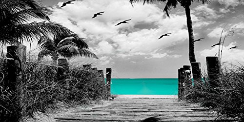Paradise Walk - Aqua with Sepia or Gray Background, 20x30 Canvas Stretched around a wooden Frame Seascape Ocean Pictures on Canvas. Wall art for Living Room Bedroom Beach (20x40, Gray Background) by Canvas Wall Art 4 You