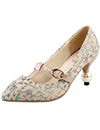 Show Story Glam Arrow Print T-Strap Buckle Pointed Toe Exquisite Pearl Heel Dress Pump,LF60419