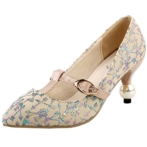 Arrow Dress Strap LF60419 Show T Toe Heel Pump Beige Glam Pearl Print Story Exquisite Pointed Buckle Ew7AqCR