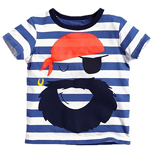 Captain Meow Baby Boy Short Sleeves Pirate Moustache Navy Stripe Tee - Pirate Stripe