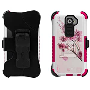 Beyond Cell High Impact Rugged Tri Shield® Kombo® Case & Holster Built Clip with Clear Screen Protector film for LG G2 D800/D801/D802/LS980/VS980 Flower Series- Cherry Blossom - White/Pink - Retail Packaging