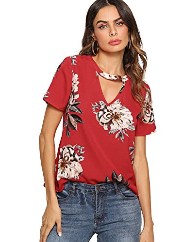 Floerns Women's Floral Print Choker V Neck Casual Blouse Top Red M (Shirts Flower Red)