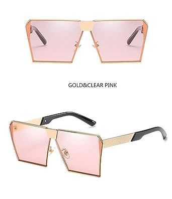 Wang-RX Gafas de sol cuadradas sin montura de gran tamaño de ...