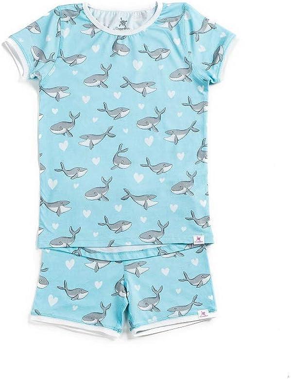 OceanBluu - Pijama de manga corta para niña, 100% algodón orgánico y certificado de comercio justo, suave pijama para niños, ropa natural Jorobadas en Love Blue 2-3 Años: Amazon.es: Ropa y accesorios