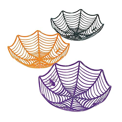 Fun Express Plastic Spider Web Multicolor Candy Bowls | 2-Pack (6 Count) | Great for Halloween-Themed Parties | Children Age -