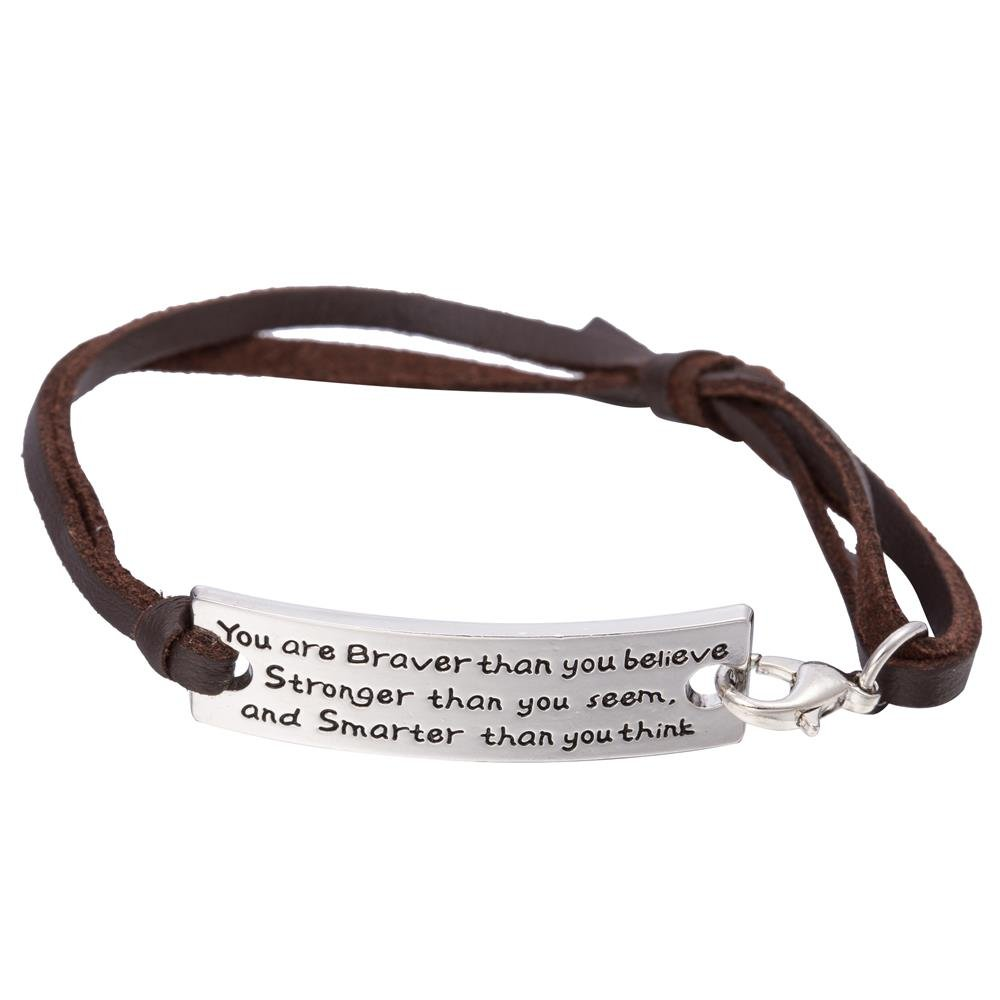 High Polished Stamped Rectangle You Are Braver Than You Believe Inspirational Adjustable Leather Bracelet Qiju B108780-2
