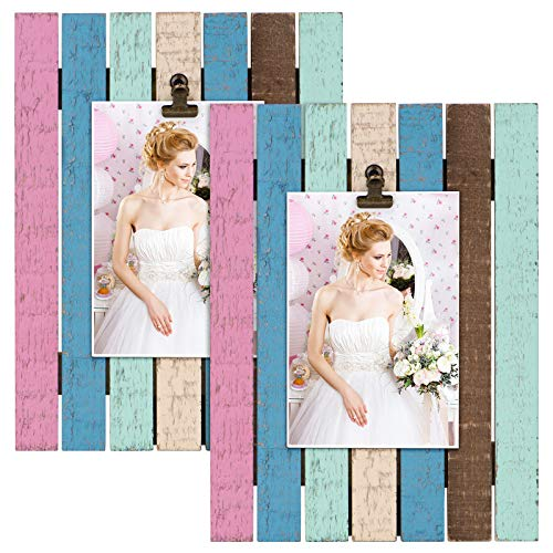 SZQINJI Picture Photo Frame Pack of 2 Colored Stripes Solid Wood for Table Top Display and Wall Mounting (Vertical Display)