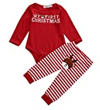 Xmas Infant Baby Boy Girl 2PCS Christmas Deer Striped Jumpsuit Costume Outfits (12-18Months)