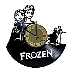 Frozen vinyl record wall clock Walt Disney clock wall art decor gift idea for birthday, christmas, women, men, friends, girlfriend boyfriend and teens - decor for bedroom living kids room nursery