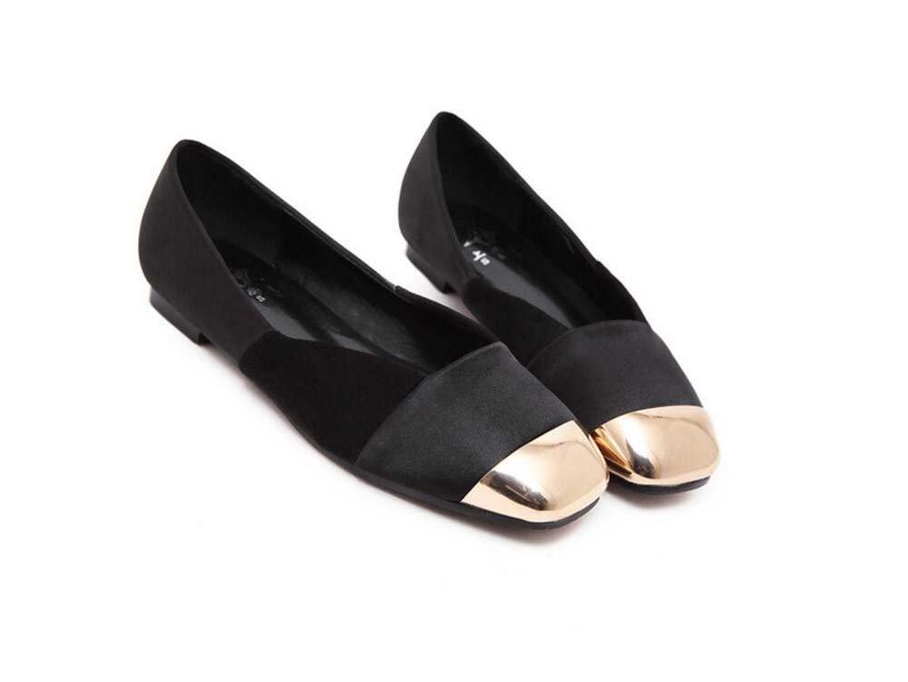 Pumpen-Slip auf Ballerina-Ebenen Frauen Metall Quadrat Zehe hohlen Farbe Match flache Schuhe fahren Schuhe Casual Schuhe eu Größe 35-39
