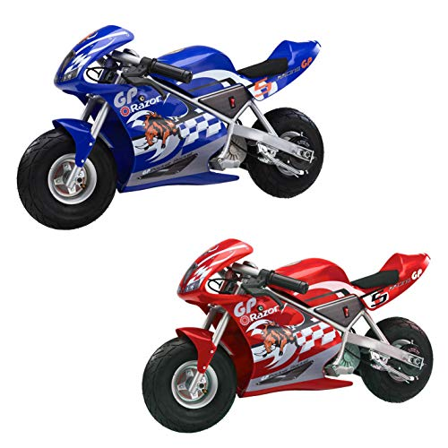 Razor Electric Single Speed Racing Motorcycle Pocket Rockets, 1 Blue & 1 Red - Pocket Rocket Mini Electric Motorcycle