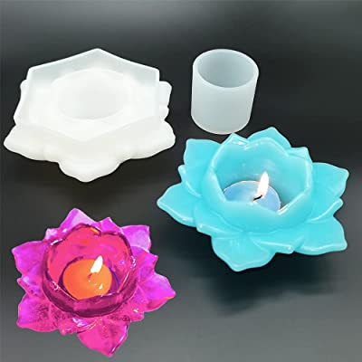 Lotus Flower Resin Mold Lotus Ashtray Mold Handmade supplies Candlestick Mold Casting Resin Art Flowers Jewelry Box Silicone Mold