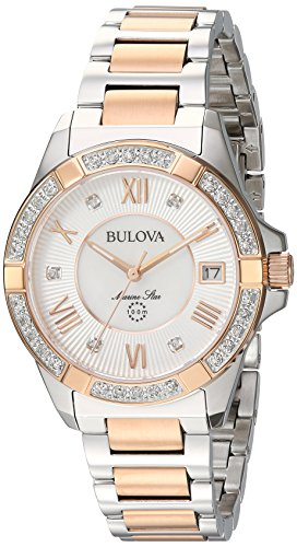Bulova Women's Quartz Stainless Steel Casual Watch, Color:Two Tone (Model: 98R234) (Marine Bulova Collection Star)