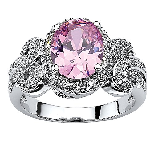 Silver Tone Oval Shaped Pink and White Cubic Zirconia Halo Bow Ring Size 7