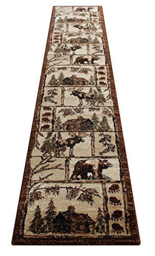 Lodge Cabin Long Runner Area Rug Design 362 (2 Feet 4 Inch X 10 Feet 10 Inch) Runner - Lodge Home Decor