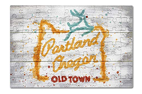 (Portland, Oregon - Rustic Neon Sign - Watercolor (8x12 Premium Acrylic Puzzle, 63 Pieces))