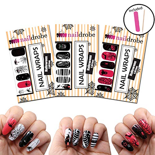 Naildrobe Halloween Nail Wrap Set (3 Pack) w/Bonus File and Orange Wood Stick -