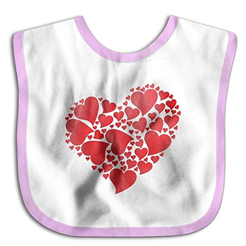Price comparison product image Safe Kids Lunch Bibs Red Paper Heart Baby Saliva Towel Snap