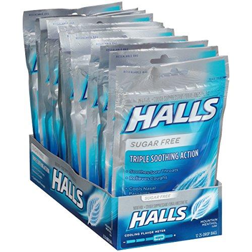 (Halls Mountain Menthol Sugar Free Cough Drops - with Menthol - 300 Drops (12 bags of 25 drops))