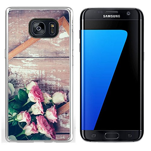 Luxlady Samsung Galaxy S7 Edge Clear case Soft TPU Rubber Silicone IMAGE ID 31211338 Bouquet of pink roses and a wooden frame on old board background vintage color tinting ()