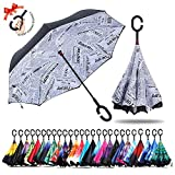umbresen Double Layer Inverted Umbrella Cars Reverse Open Folding Umbrellas, Windproof UV Protection Large Self Stand Upside Down Straight Umbrella for Golf Women and Men with C-Shaped (News)